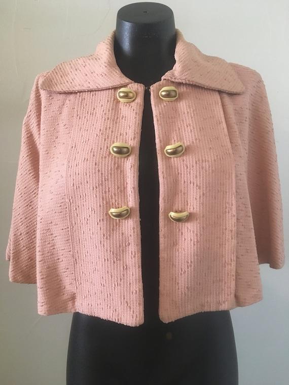 Vintage 1950's Pink Brocade Capelet
