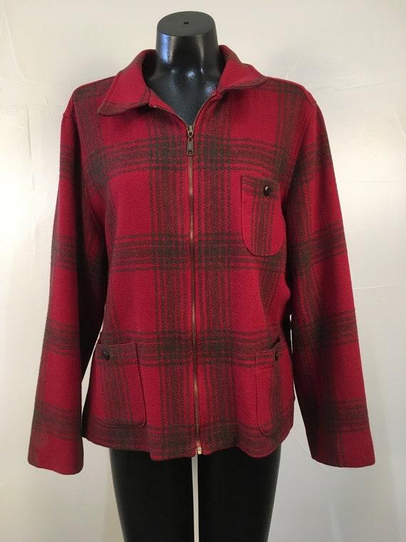 Vintage Women's Plaid Wool LL Bean Style Jacket