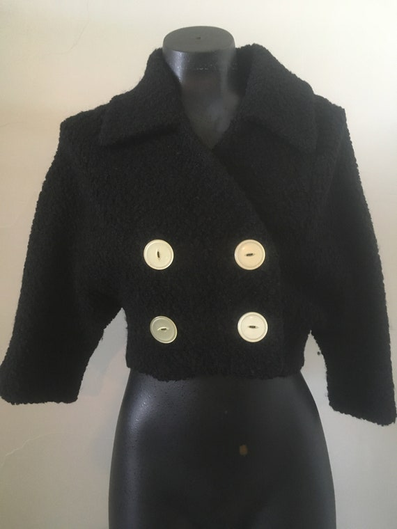 Vintage 1950's Women's  Cropped Wool Bolero Boucle