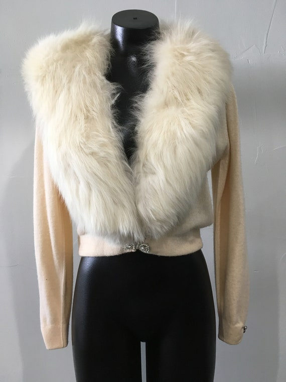Vintage Women's Fur Collar Cashmere Cocktail Sweat
