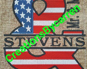 44214e3f61ff Mr and Mr Ampersand with US Flag Embroidery Design WITH WORDING