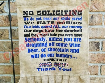 No Soliciting Garden Flag