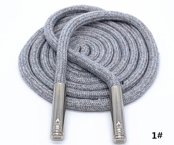 Reflective Bootlaces,Hoodie Cord Rope Shoe Lace Neotrims 6mm Silver Metal Ends