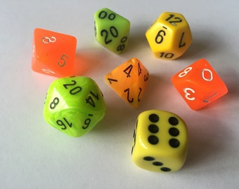 Potions and Poisons Polyhedral Dice Set-Multiple Color Options