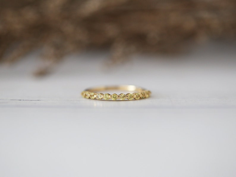 Promise Wedding Ring Half Eternity Yellow Sapphire Ring Bridal Ring Stackable Wedding Band Gemstone Ring Solid 14K Yellow Gold Match Ring
