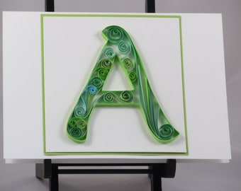 Quilled Monogram Initial 5X7 Card: For Him; For Her Any Special Occasion One of a Kind Card