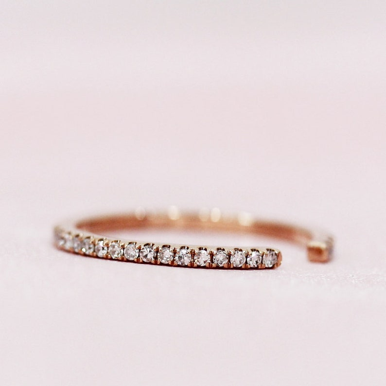 14K Rose Gold Ring Open Design Natural Diamonds Wedding Band Matching Band Stackable Ring Engagement Ring Anniversary Ring
