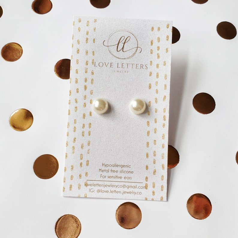 sensitive ears White faux pearl hypoallergenic silicone metal free stud classic jewelry| stocking stuffer children/'s earrings