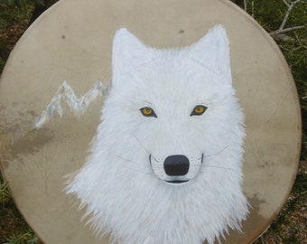 Shamanic drums, drums, drum shaman, Wolf, Shaman Drum professional, painting, animal totem
