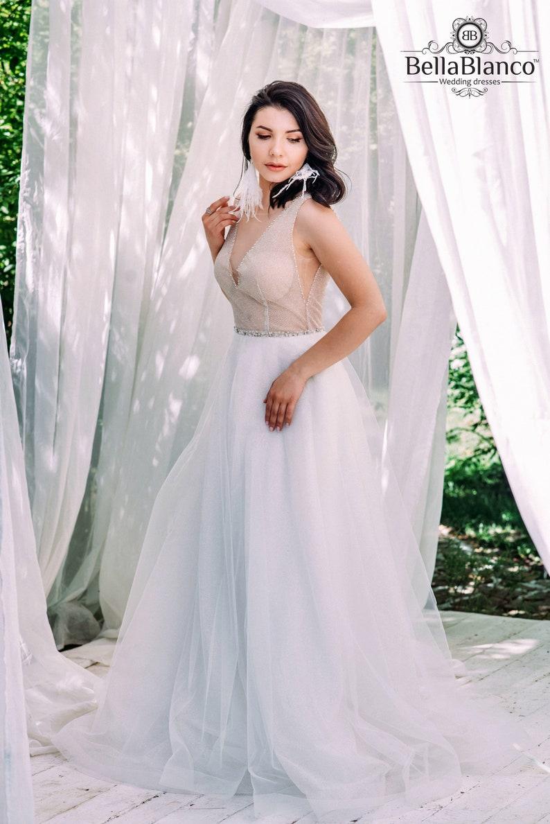 Boho Wedding Dress Designer.Boho Wedding Dress Silver Color Wedding Dress Ivory Tulle Gown Designer Wedding Dress Glitter Wedding Dress Romantic Wedding Dress
