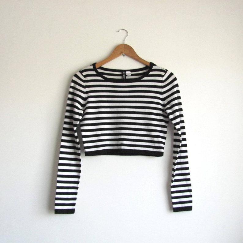20ee08aef98 VINTAGE Clothing Long sleeve crop top Short sweater Minimal | Etsy