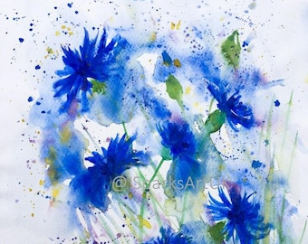 Cornflower blue splash