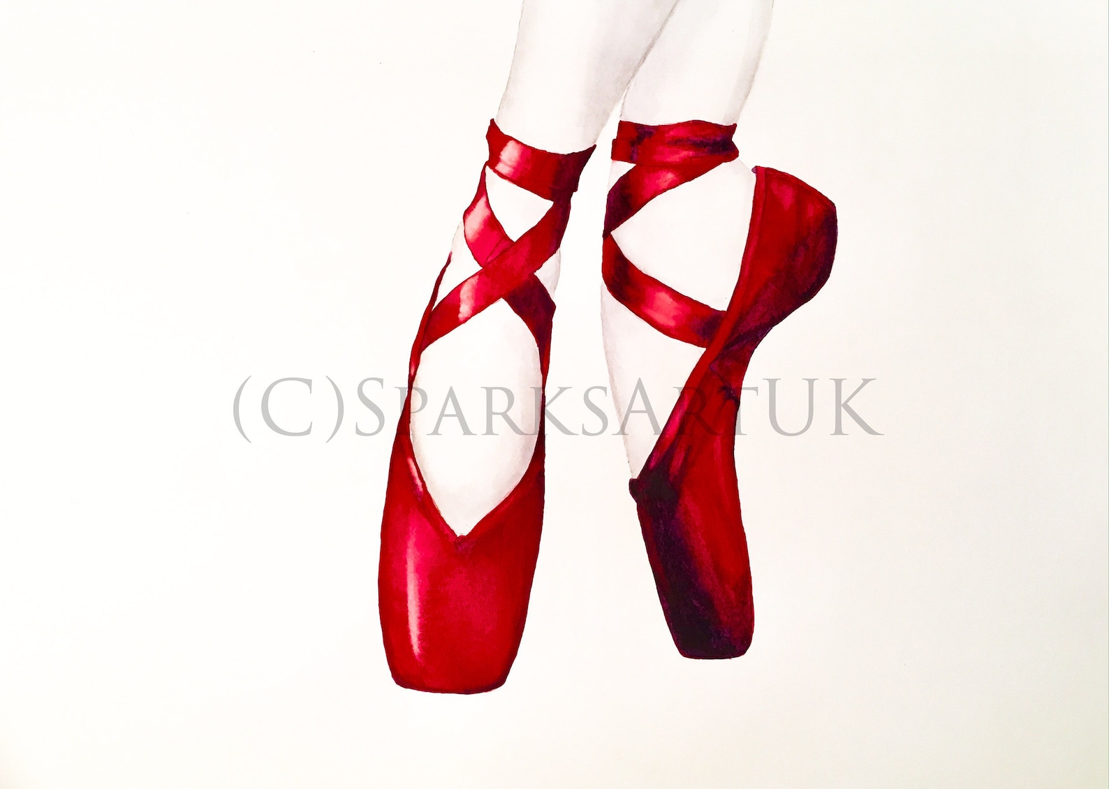 red ballet shoes - giclee print of original watercolour painting