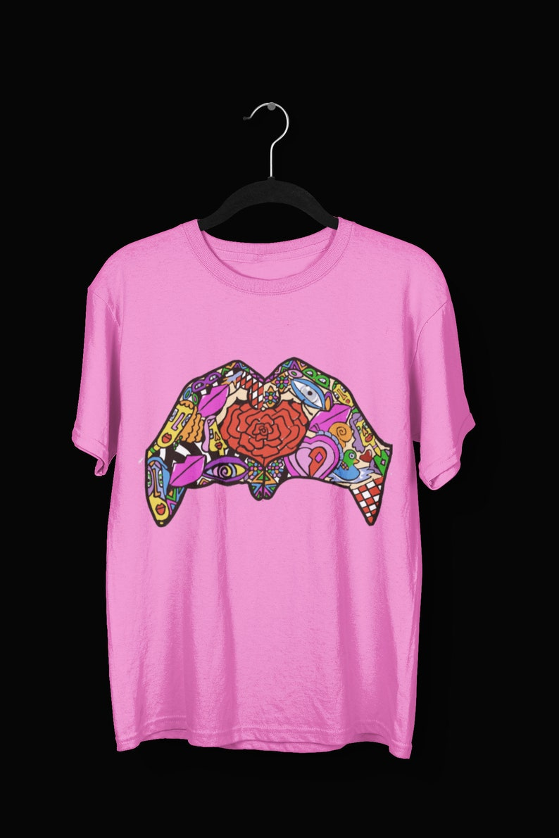 Peace /& Love Hippie Tee Love Sign Art T-shirt Rose Shirt Blue Heart Hands Graphic Tee