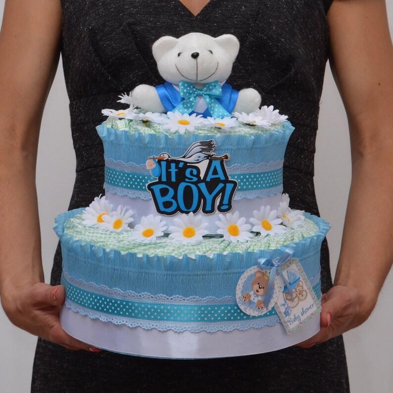 Diaper Cake Baby Shower Gift Diaper Cake For Boy Baby Etsy