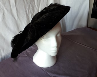 Cartwheel velvet hat with ostrich feathers