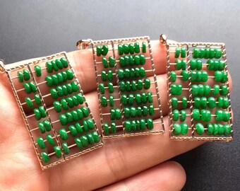 Creative A-grade Burma jadeite jade abacus pendant with gold
