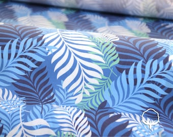 Cotton fabric, big leaves, blue and light blue