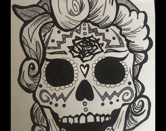 Rockabilly Skull (black and White)
