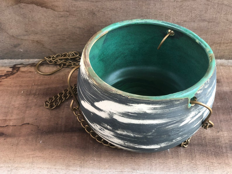 Hanging planter pottery hand carved handmade
