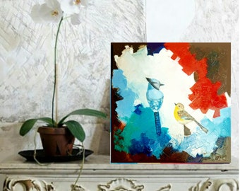 Original oil painting with birds