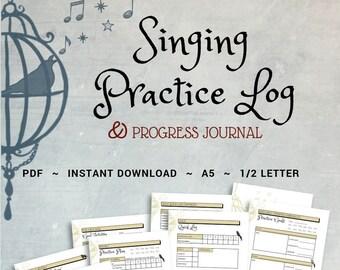 Singing Practice   Music Practice Journal, Log,  For Singers, Singing Journal, Daily, Weekly, Practice Planner, Goal Setting, Printable, PDF