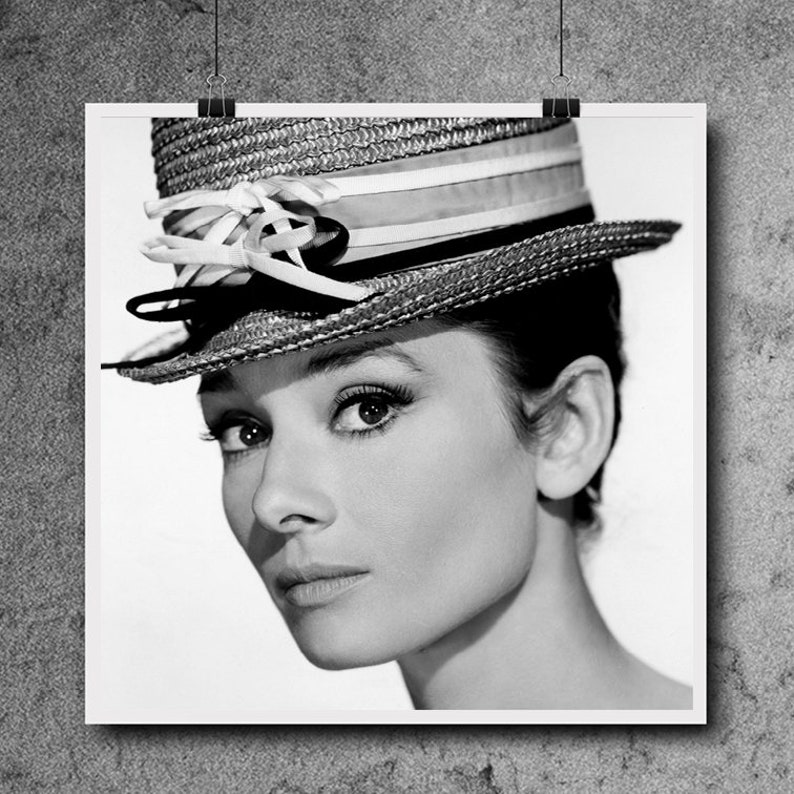 Iconic Art Print 1960s Large Poster FREE SHIPPING Classic Black and White Art Wall Art Audrey Hepburn Print 1950s Art Print