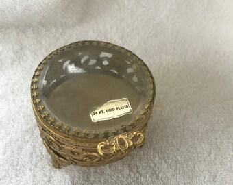Vintage Trinket Box 24k Gold Plated