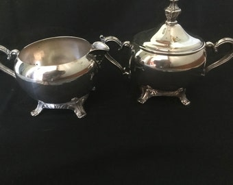 Vintage WM Rogers Silverplate Creamer and Sugar Bowl