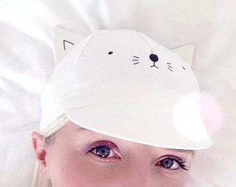 Cycling cap - white cat