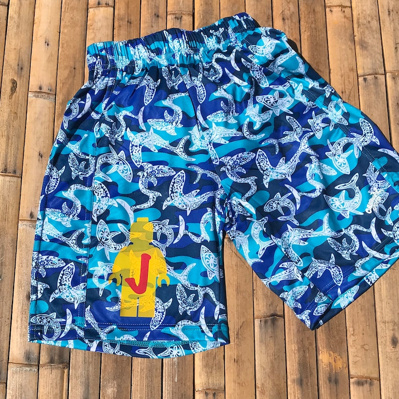 b0b39f3096 Boys Swim Trunks Personalized Robot Swim Shorts Swimsuits for | Etsy