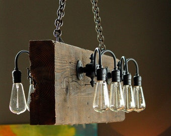 Reclaimed wood beam rustic industrial chandelier
