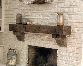 reclaimed wood mantel etsy rh etsy com Wood Mantels for Stone Fireplaces Wood Mantels for Stone Fireplaces