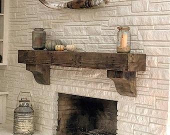Reclaimed Wood Mantel Etsy