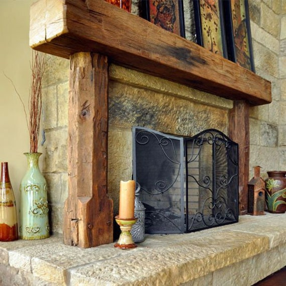 Rustic Full Wood Beam Fireplace Mantel With Legs Etsy