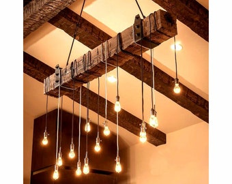 4 foot Reclaimed Barn Wood Beam Chandelier