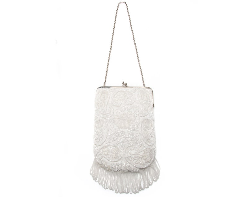 1920s Style Purses, Flapper Bags, Handbags Vintage White Purse | Formal Purse | Wedding Purse | Cocktail Purse | Evening Bag | Beaded Wrist Bag | Clutch Bag | Bridal Bag $104.70 AT vintagedancer.com
