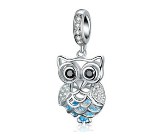 024696eb1 925 Sterling Silver Owl Charm Bead Fits Pandora Bracelet Pendant