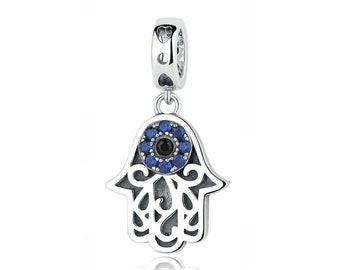 35d5cc890 925 Sterling Silver Blue Evil Eye In Hamsa Hand Charm Bead Fits Pandora  Bracelet Pendant