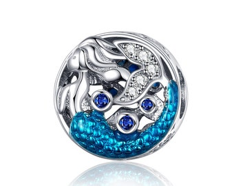 130c7e398 925 Sterling Silver Blue Mermaid Tail Charm Bead Fits Pandora Bracelet  Pendant