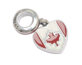 6ce082955 Solid 925 Sterling Silver Canada Maple Bead Charm Fits Pandora Bracelet