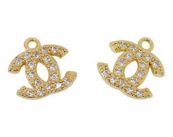 b69d88bf1 2 Pcs 24K Gold Plated Chanel Charm for Jewelry Making