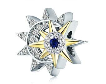 6cc5c2cb5 925 Sterling Silver Moon and Sun Charm Bead Fits Pandora Charm Bracelet  Pendant