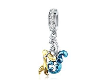 9500f4b24 925 Sterling Silver Gold Mermaid Charm Bead Fits Pandora Bracelet Pendant