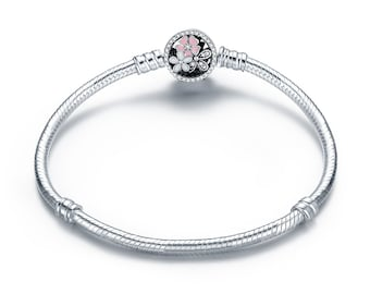 Solid 925 Sterling Silver Pink Flower Enamel Snap Clasp Snake Bracelet