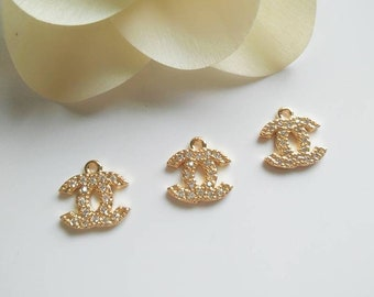 4eed57161105 2 Pcs 24K Gold Plated Chanel Charm for Jewelry Making