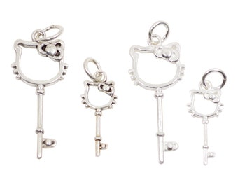 c0973384c Vintage 925 Sterling Silver Hello Kitty Key Charm with Close Jump Ring