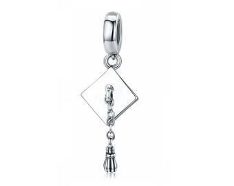 1d3c40ceeff 925 Sterling Silver Graduation Hat Charm Bead Fits Pandora Charm Bracelet  Pendant