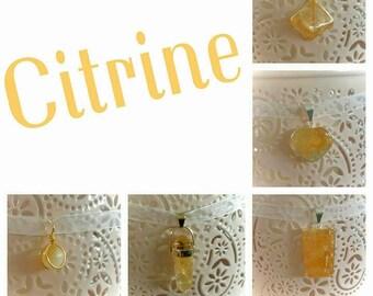 Citrine lucky charm pendant necklace