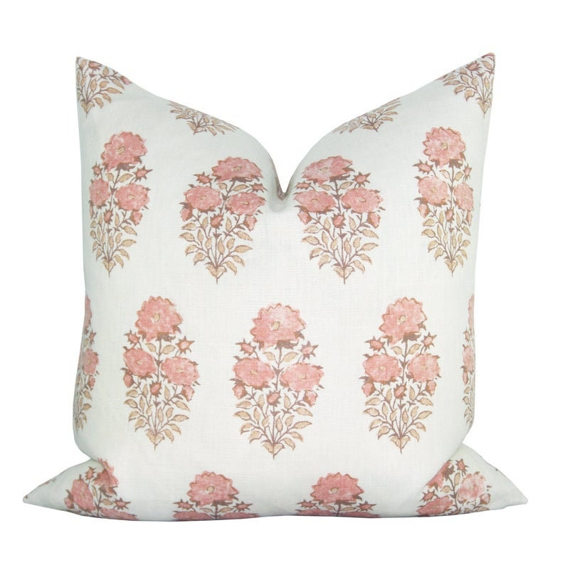 Lisa Fine Designer Pillow Cover Mughal Flower in Coral - 10 Romantic Tranquil Pink Paint Colors & Pretty Finds! #pinkdecor #interiordesign #pinkaccessories